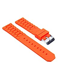StrapsCo Waterproof Orange Silicone Watch Band Ribbed Rubber Strap fits Tag Heuer 24mm