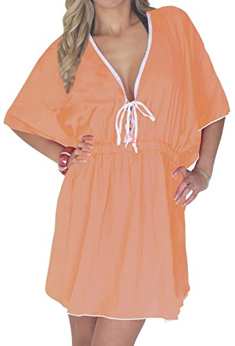 La Leela Seda artificial pura profunda v bikiní sólida cubierta elástica hasta las mujeres Naranja