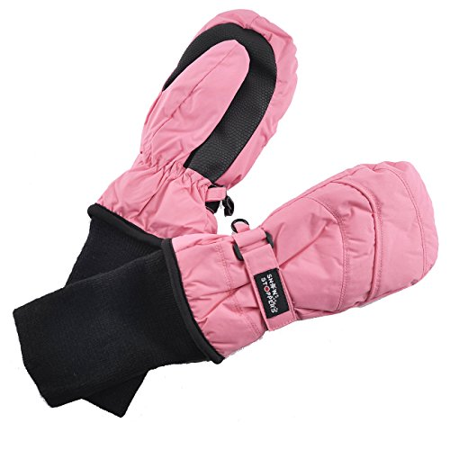 (SnowStoppers Kid's Waterproof Stay On Winter Nylon Mittens Large / 4-8 Years Pink )