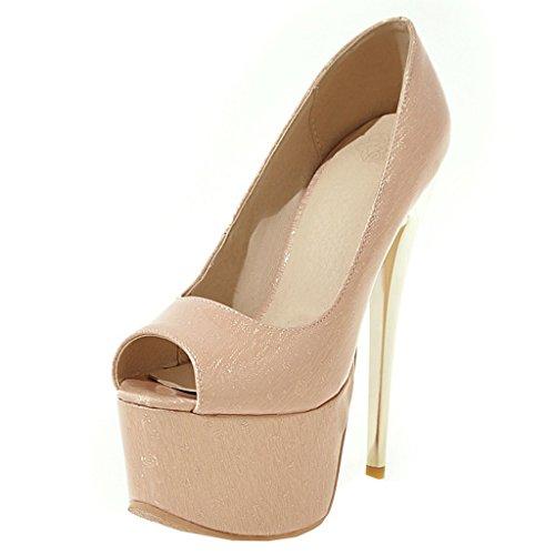 ENMAYER Frauen Aprikose#38 Lackleder Sexy Plattform Stiletto Super High Heels Runde und Peep Toe Pumps Slip auf Hochzeitskleid Court Schuhe 37 B(M) EU