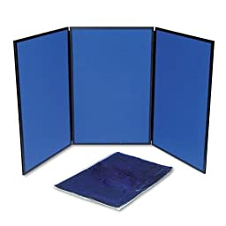 QUARTET SB93513Q ShowIt Three-Panel Display System, Fabric, Blue/Gray, Black PVC Frame