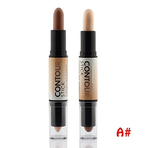 Contour Stick Highlighter Bronzer Create 3D Face Makeup Concealer Full Cover Blemish Double-ended 2 in 1,Light brown,0.28oz (2) UCANBE
