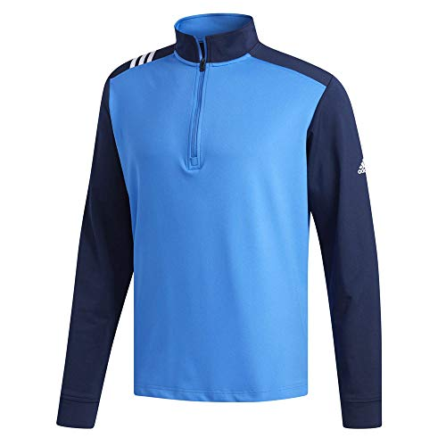 - adidas Golf Men's 3-Stripes 1/4 Zip True Blue/Collegiate Navy Medium