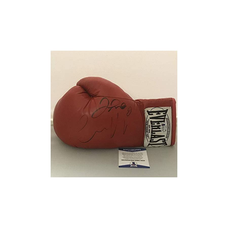 Autographed/Signed Floyd Mayweather Jr. & Conor McGregor The Money Fight Red Everlast Boxing Glove Beckett BAS COA
