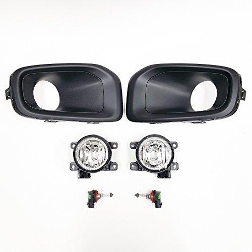 LEDIN For 2015-2017 Jeep Renegade Latitude Limited Sport Clear Lens Fog Light Kit with Black Bezel Bulbs