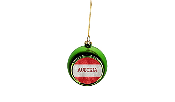 Rosie Parker Inc Flag Austria Austrian Grunge Flag Bauble Christmas Ornaments Green Bauble Tree Xmas Balls Home Kitchen