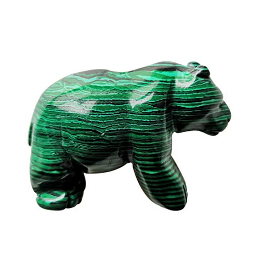 Gemgogo Synthetic Malachite Bear Figurines, Natural 2 Inches Hand Carved Crystals and Healing Stone Statue Home Decoration Crafts (Home Statue For Decoration)