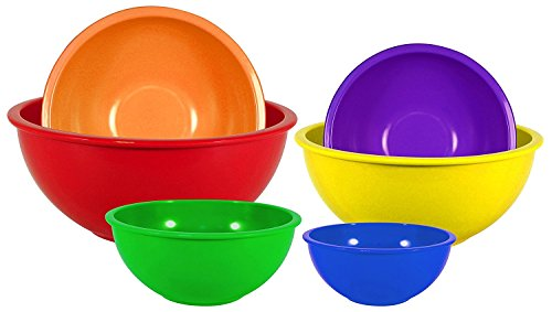 Set of 6 Gourmet Home Products Brand Bold Colored Nesting Mixing Bowls in 6 Different Sizes-Red