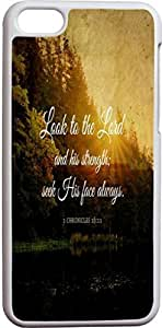 LJF phone case Look To The Lord And His Strengths Seek His Face Always 1 Chronicles 16:11 Christian Quote Bible Verses Pattern Print High Quality Hard Plastic Cover Protector Sleeve Case For Apple iphone 6 plus 5.5 inch