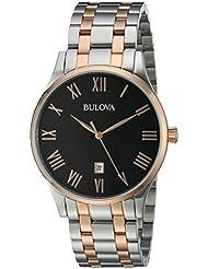 Bulova Mens Quartz Stainless Steel Dress Watch, Color:Two Tone (Model: 98B279)