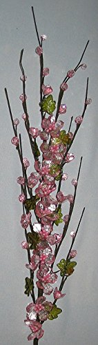 Acrylic Faceted Pink Potentilla Flower Spray 30 Inch