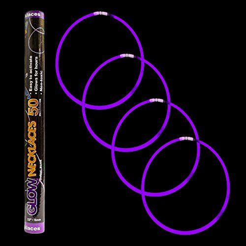 "Fun Central J0 22"" Premium Glow Stick Necklaces, Glow in the Dark Necklace, Glow Necklaces Bulk, Glow Sticks Bulk- Purple, 50 ct"