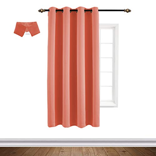 Yakamok Soundproof Home Fashion Thermal Insulated Solid Grommet Blackout Curtain Panels Bedroom, Coral Orange, 52x84-inch,1 Panel