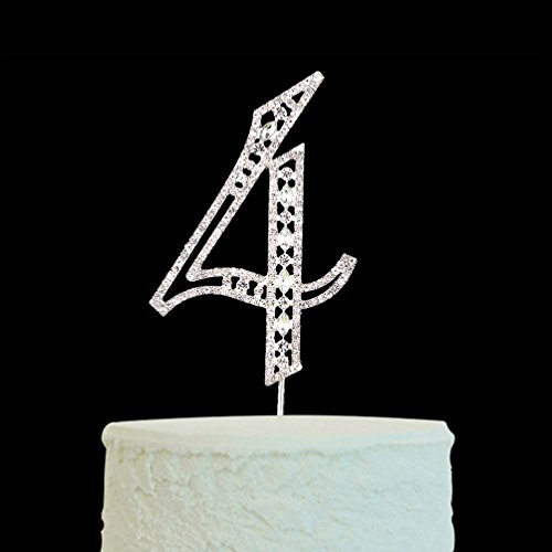 Big Number 4 Cake Topper Silver Rhinestone for 4th Anniversary & Wedding & Birthday & Party Decoration Supplies (Number Cake Topper 4)