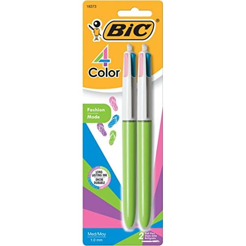 BIC 4 Color Fashion Ball Pen, Medium Point (1.0mm), Assorted, 2-Count free shipping