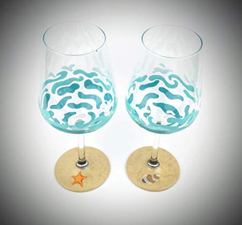 Beach wine glasses, hand painted with waves, water, sand, starfish and seashell - Set of two