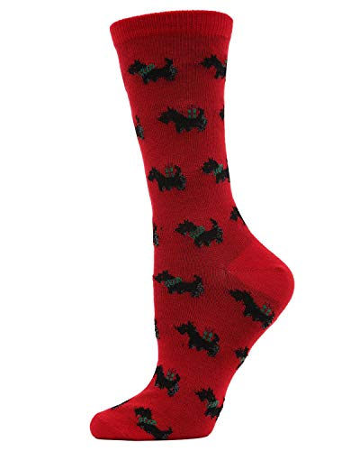 MeMoi Holiday Scotties Crew | Women's Fun Novelty Dog Socks Tango Red MF7 960 One Size 9-11