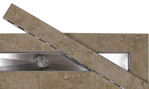 60'' LINEAR DRAIN WITH TILE INSERT GRATE WITH FREE LINEAR DRAIN HEIGHT ADJUSTER by Thunderbird Products, Inc. (Image #1)