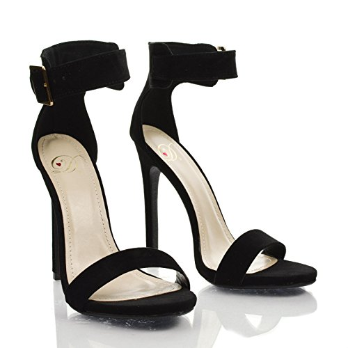Black High Heel Sandals With Ankle Strap | Tsaa Heel