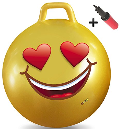 WALIKI Toys Hopper Ball for Adults (Hippity Hop Ball, Hopping Ball, Bouncy Ball with Handles, Sit & Bounce, Space Hopper, Kangaroo Bouncer, Jumping Ball, Ages 13-101, 29 Inches, Emoji, Pump Included) -