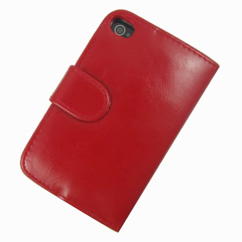 Hanicase (TM) FULL SIZE CASH POCKET LEATHER WALLET WITH 8 CARD WALLET LEATHER CASE FOR Apple Iphone 4 4G 4S RED