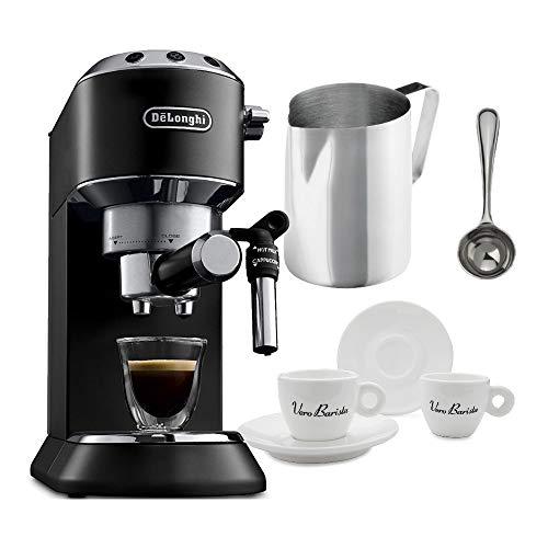 DeLonghi America, Inc EC685BK Dedica Deluxe Espresso, Black Includes Frothing Pitchers, Coffee Measure & 2 Espresso Cups Bundle