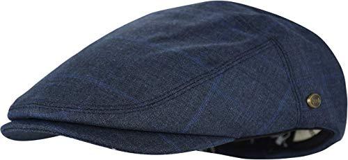 Men's Thick Cotton Summer Newsboy Cap SnapBrim Ivy Driving Stylish Hat (Navy Check-4023, S/M) ()