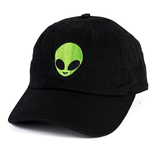 Alien Hat (Alien Face Embroidered Hat Adjustable Baseball Cap Vintage Cap (Black))