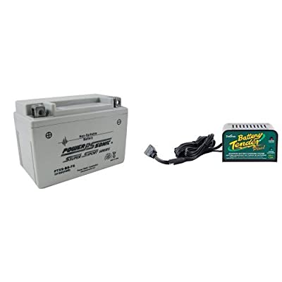 Power-Sonic (PTX9BS-FS) Sealed Maintenance Free Powersport Battery and Deltran Battery Tender (021-0128) 1.25 Amp Battery Charger Bundle