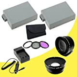 TWO Canon EOS Rebel T3i 18 MP CMOS Digital SLR Camera (600D / Kiss x5) LP-E8 Lithium Ion Replacement Battery 1500 mAh w/External Rapid Charger + 58mm 3 Piece Filter Kit + 58mm Wide Angle Lens + 58mm 2x Telephoto Lens Bundle DavisMAX LPE8 Accessory Kit