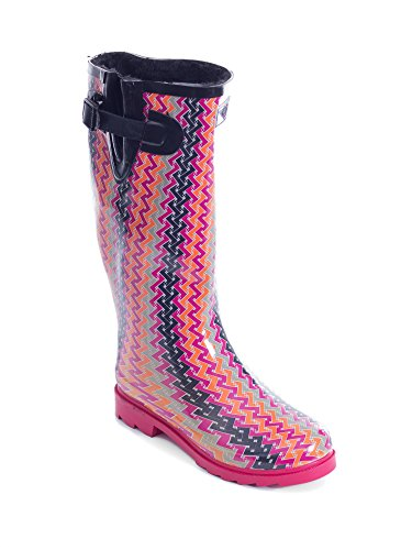 Women Rubber Rain Boots /w Faux Fur Lining (Pink Swirl Design, 8) by Forever Young