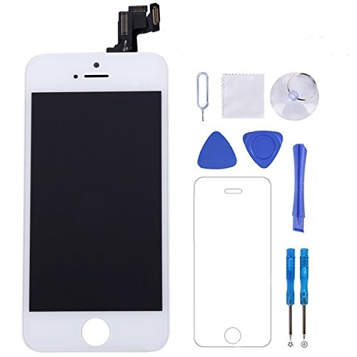 iPhone 5s Screen Replacement [White] - P-Zone LCD Display Touch Digitizer Full Assembly Kit (Include Front Camera + Proximity Sensor + Ear Speaker) with Repair Tools and Screen Protector
