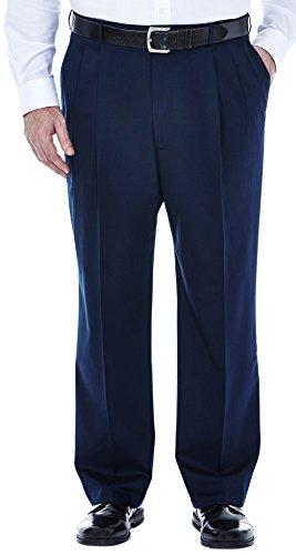 Haggar Big & Tall Mens No Iron Pleated Pants 58W x 30L Dark (Pleated No Iron)