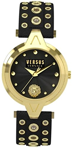 Versus Versace V_VERSUS eyelets Womens IP Gold Black Leather Analog Stainless Steel Watch SCI030016