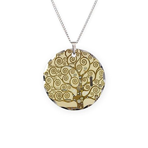 CafePress - Tree Of Life By Gustav Klimt - Charm Necklace with Round -