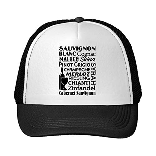 Trucker Hat Sauvignon Blanc Cognac Mable Shiraz Pinot Polyester Baseball Mesh Cap Snaps Black/Black One Size
