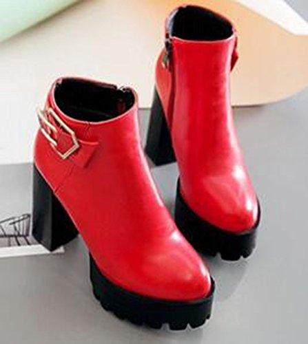 Idifu Kvinners Retro Spenne Plattform Høyt Chunky Hæler Side Zippe Motor Ankel Boots Red
