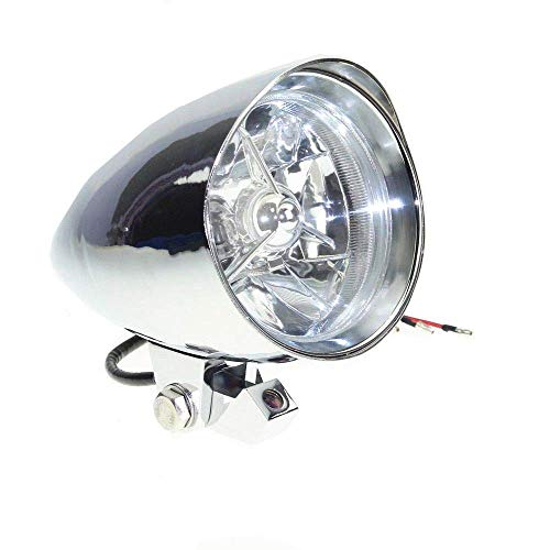 Motorcycle Bullet Visor Headlight H4 Headlamp Head Light Assembly For Harley Honda Yamaha Kawasaki Suzuki Aprilia Ducati (Chrome)