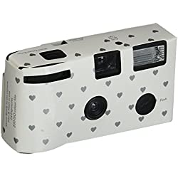 Single Use Camera - Silver Hearts Design - White
