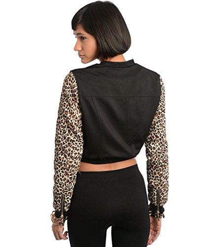 2LUV Women's Animal Print Sleeves Bomber Jacket Black S(J8261)