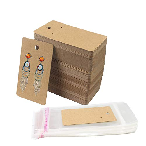 Luckkyme 100 Set Kraft Paper Earring Display Card with 100 PCS Self-Adhesive Bags, Earring Card Holder Blank Kraft Paper Tags for DIY Ear Studs and Earrings -