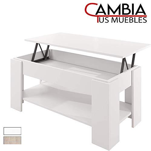 CAMBIA TUS MUEBLES - Mesa de Centro elevable con revistero para Comedor, salon Premier MC-3, Mesa Auxiliar en Color Blanco o Roble (Blanco)