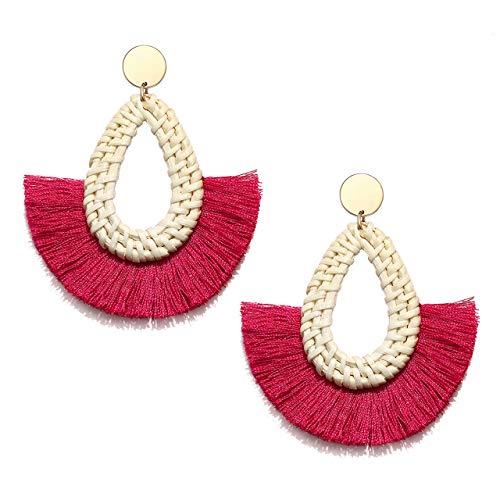 Seni Rattan Tassel Earrings for Women Boho Fan Tassel Fringe Earrings Straw Wicker Woven Drop Dangle Earrings Statement Rattan Hoop Stud Earrings (Rose -