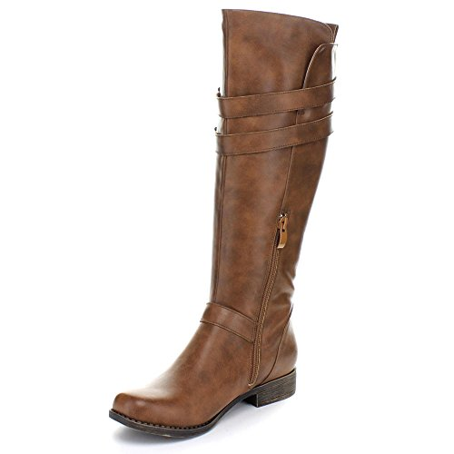 Fashion Focus Bella-2 Womens Faux Leather Knee High Riding Boots Brown Iaua2s