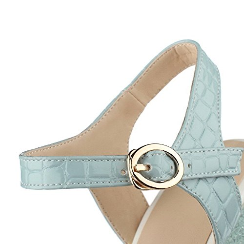 AllhqFashion Mujeres Plataforma Material Suave Sólido Hebilla Peep Sandalia Azul