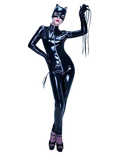 GYH Women Sexy Women's Catwoman Catsuit Lingerie Bodysuit Leather Teddy Latex Bodystocking,Black,S ()