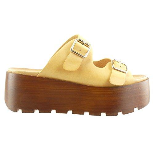 Angkorly - Scarpe da Moda zoccoli sandali zeppe donna tanga fibbia legno Tacco zeppa piattaforma 7 CM - Cammello