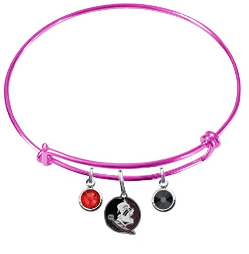 Florida State Seminoles New Logo PINK Expandable Wire Charm Bracelet Bangle w/ Team Color Crystals