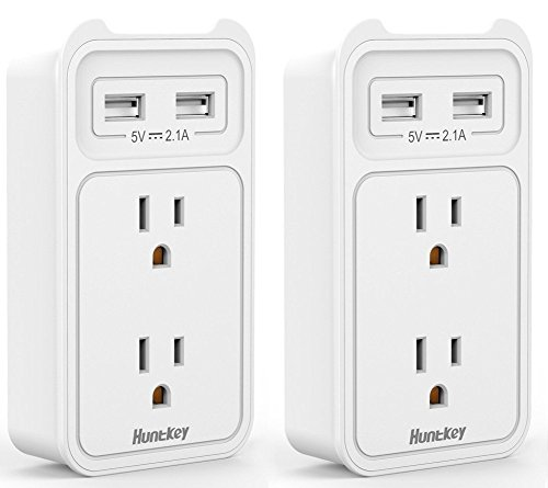 (Huntkey 2-Outlet Wall Mount Cradle with Dual 2.1 AMP USB Charging Ports, SMD407 (White / 2 pack))