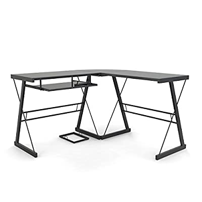 Ryan Rove Madison 3-Piece Corner L-Shaped Computer Desk in Black - Sliding keyboard tray can be mounted on either side of desk with glass top and Free CPU Stand. Polished and beveled, tempered safety glass designed to be used as corner desk. Space-saving L-shape design. Universal, autonomous CPU stand included. - writing-desks, living-room-furniture, living-room - 41IXTjW%2BjHL. SS400  -